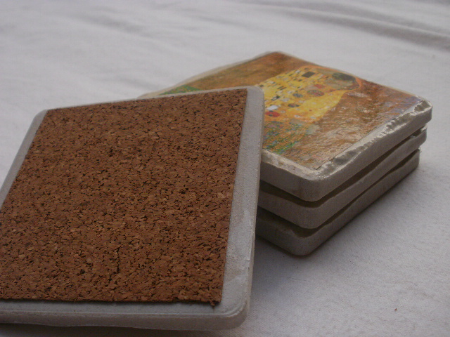 Tile coaster cork bottom