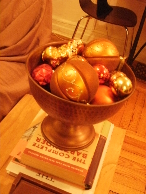 bowl of christmas balls