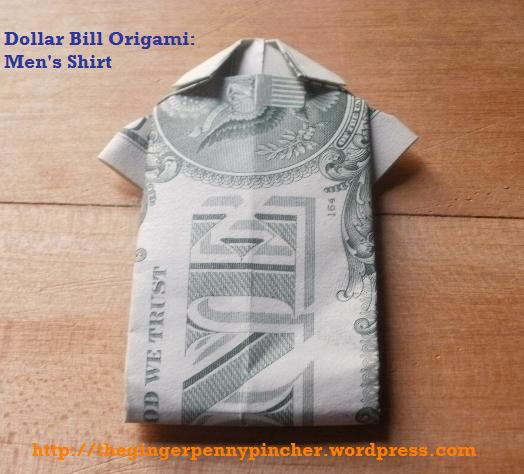 dollar bill mens shirt origami