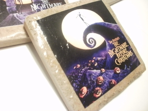 nightmare before christmas tile coasters